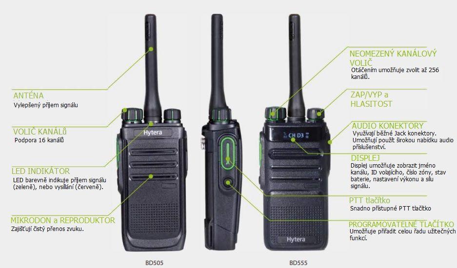 BD505 BD555 ovládací prvky