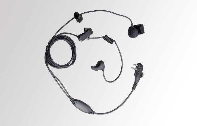 Hovorová souprava EBM01 pro vysílačky HYT TC-610, Hytera PD505. Speciální mikrofon integrovaný ve sluchátku pracuje na principu snímaní vibrací kůstek v uchu