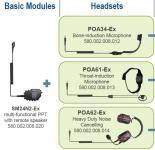 Hovorová souprava POA34-Ex do přilby využívající kostní přenos s certifikací do výbušného prostředí ATEX pro digitální radiostanice Hytera PD715Ex a PD715Ex kombinace