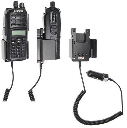 Držák do auta Brodit pro vysílačky Hyt TC700P a TC780 přední a boční pohled s radiostanicí